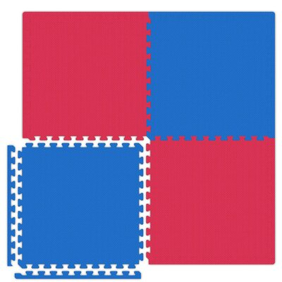Economy SoftFloors Set in Red / Royal Blue Size: 12 x 16