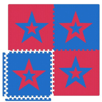 Economy SoftFloors Star Set in Red / Royal Blue Size: 6' x 8' ESFRDRBStar0608