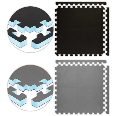 Jumbo Reversible SoftFloors Set in Black / Grey Size: 20 x 20