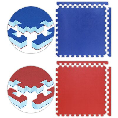 Jumbo Reversible SoftFloors Set in Red / Royal Blue Size: 50 x 50