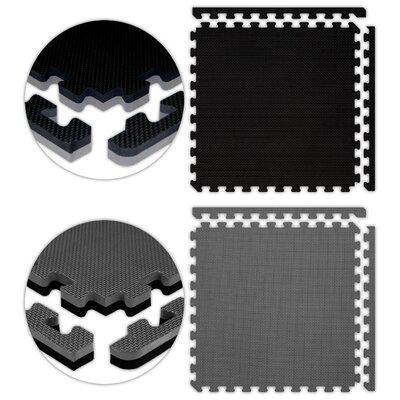 Jumbo Reversible SoftFloors Set in Black / Grey Size: 12 x 12