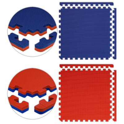 Jumbo Reversible SoftFloors Set in Red / Royal Blue Size: 6 x 8