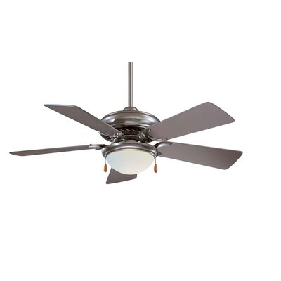 44 Supra 5-Blade Ceiling Fan Finish: Brushed Steel with Silver Blades