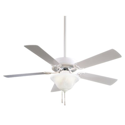 52 Contractor 5-Blade Ceiling Fan Finish: White with White Blades, Glass Type: Excavation Glass
