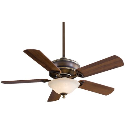 52 Bolo 5-Blade Ceiling Fan with Remote Finish: Belcaro Walnut with Dark Walnut Blades, Glass Type: Excavation Glass