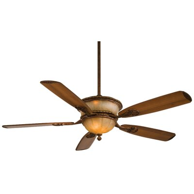 60 Hearst Castle Santa Lucia 5 Blade LED Ceiling Fan Finish: Illuminati Bronze with Dark Walnut Blades, Glass Type: Silver Patina Glass