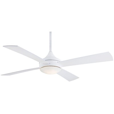 52 Aluma Wet 4 Blade Outdoor LED Ceiling Fan with Remote Finish: White
