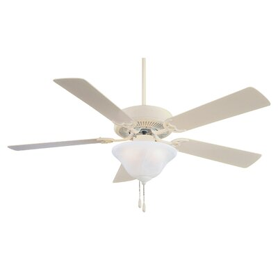 52 Contractor 5-Blade Ceiling Fan Finish: Bone White, Glass Type: Etched Swirl Glass