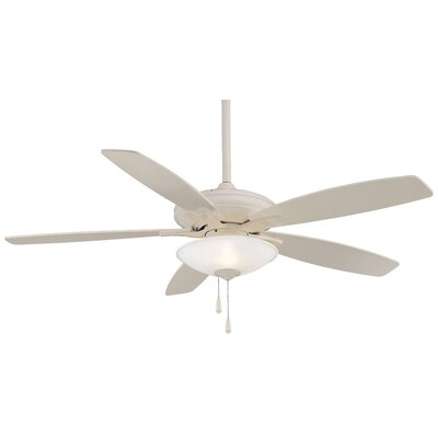 52 Mojo 5-Blade Ceiling Fan Finish: Bone White, Glass Type: Frosted White Glass