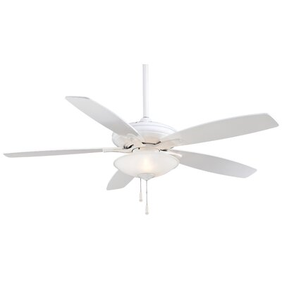 52 Mojo 5-Blade Ceiling Fan Finish: White, Glass Type: Frosted White Glass