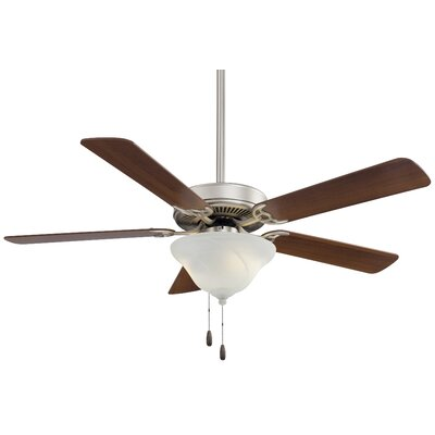 52 Contractor Uni Pack 5 Blade LED Ceiling Fan Finish: Brushed Steel with Dark Walnut Blades, Glass Type: Etched Swirl Glass
