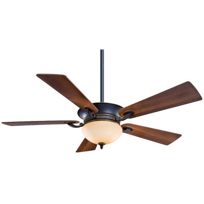 52 Delano 5-Blade Ceiling Fan Glass Type: White Frosted Glass, Finish: Polished Nickel