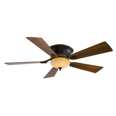 52 Delano II 5 Blade LED Ceiling Fan Finish: Dark Restoration Bronze with Dark Walnut Blades, Glass Type: Rustic Scavo Glass