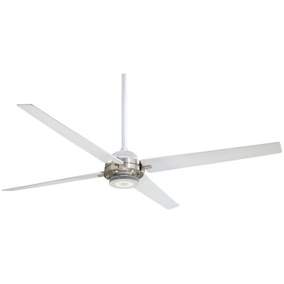 60 Spectre 4-Blade Ceiling Fan Finish: Brushed Nickel with Flat White Blades