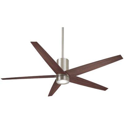 56 Symbio 5 Blade LED Ceiling Fan Finish: Brushed Nickel with Dark Walnut Blades