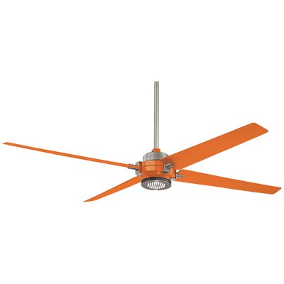 60 Spectre 4 Blade LED Ceiling Fan Finish: Brushed Nicke with Orange Blades