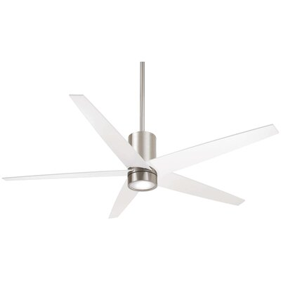 56 Symbio 5 Blade LED Ceiling Fan Finish: Brushed Nickel with White Blades