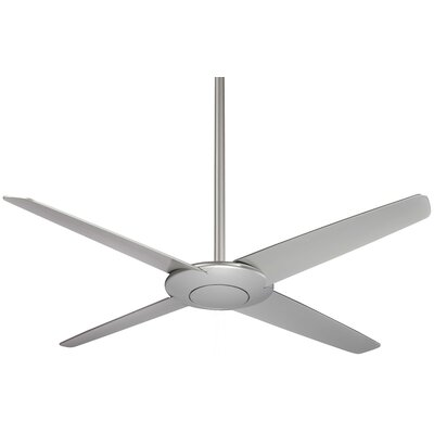 52 Pancake 4-Blade Ceiling Fan with Remote Finish: Silver