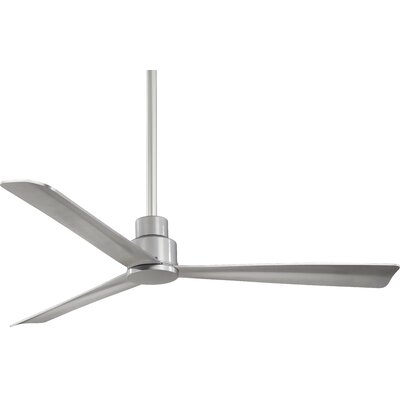 52 Simple 3 Blade Ceiling Fan Finish: Silver