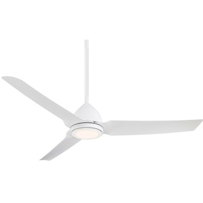 54 Java 3 Blade LED Ceiling Fan with Remote Finish: Flat White with White Blades