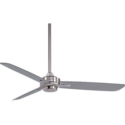 52 Rudolph 3-Blade Ceiling Fan Finish: Brushed Nickel with Silver Blades
