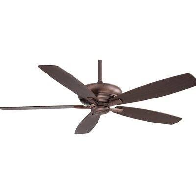60 Kola 5 Blade Ceiling Fan with Remote Finish: Dark Brushed Bronze with Dark Maple/Dark Walnut Bl