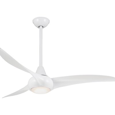52 Wave 3 Blade Ceiling Fan with Remote Finish: White
