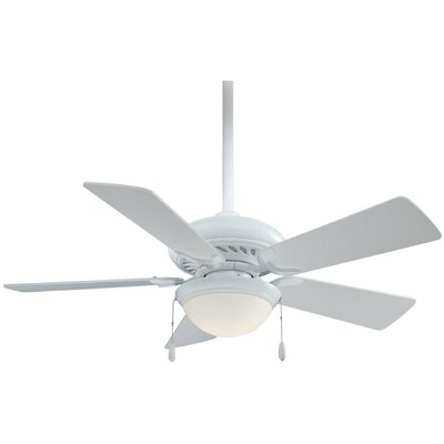 44 Supra 5-Blade Ceiling Fan Finish: White with White Blades