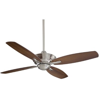 52 New Era 4-Blade Ceiling Fan with Remote Finish: Brushed Nickel with Dark Walnut Blades