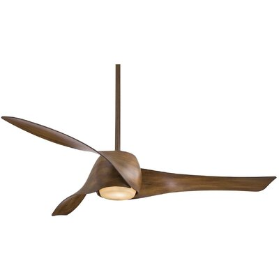 58 Artemis 3 Blade LED Ceiling Fan Finish: Distressed Koa with Gold Highlights