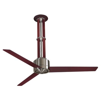 56 Flyte 3-Blade Ceiling Fan with Wall Control Finish: Brushed Nickel with Mahogany Blades