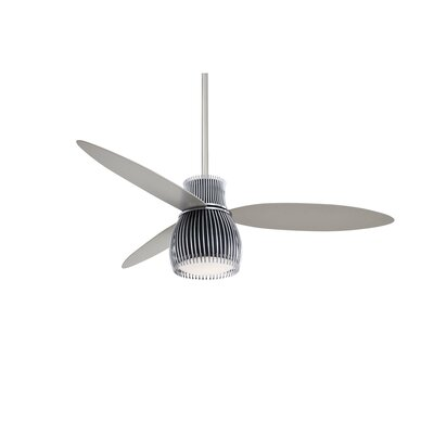 56 Uchiwa 3 Blade LED Ceiling Fan with Remote Finish: Black and Chrome