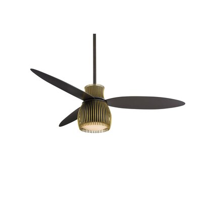 56 Uchiwa 3 Blade LED Ceiling Fan with Remote Finish: Oil Rubbed Bronze and Tarnished Brass