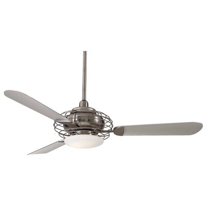 52 Acero Retro 3 Blade LED Ceiling Fan Finish: Brushed Steel / Brushed Nickel with Silver Blades