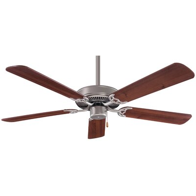 52 Contractor 5-Blade Ceiling Fan Finish: Brushed Steel with Dark Walnut Blades