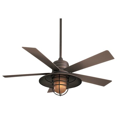 54 RainMan 5 Blade Outdoor LED Ceiling Fan Finish: Oil Rubbed Bronze with Taupe Blades