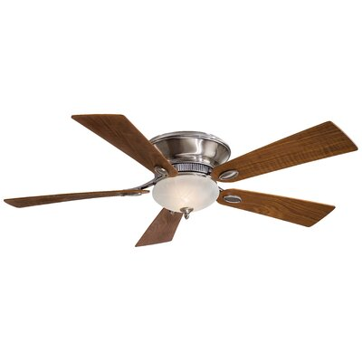 52 Delano II 5 Blade LED Ceiling Fan Finish: Pewter with Dark Walnut Blades, Glass Type: Etched Marble Glass