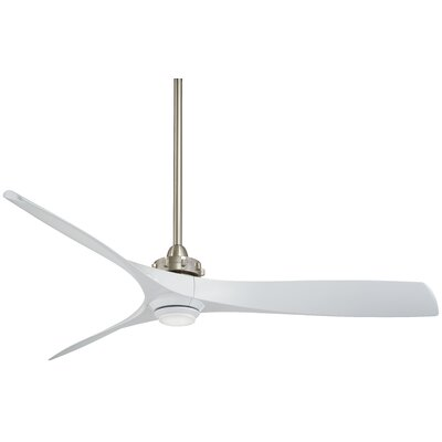 60 Aviation LED 3 Blade Ceiling Fan with Remote Finish: Brushed Nickel with White Blades