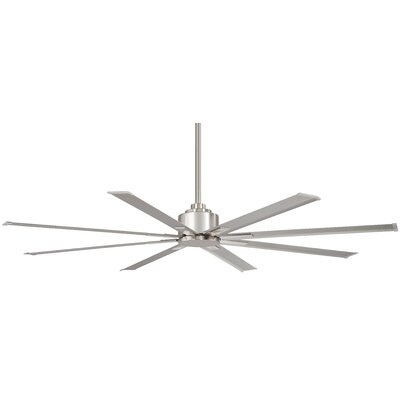 65 Xtreme 8 Blade Outdoor Ceiling Fan with Remote Finish: Brushed Nickel