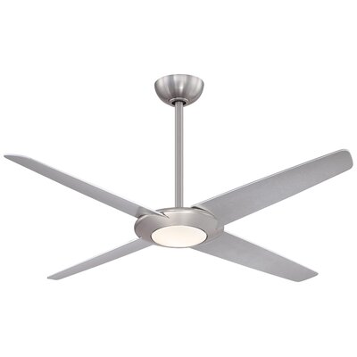 62 Pancake LED 4 Blade Ceiling Fan with Remote Finish: Brushed Nickel