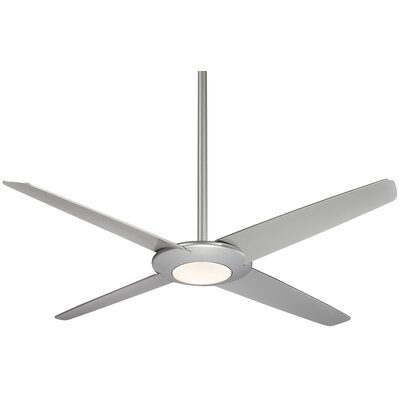 62 Pancake LED 4 Blade Ceiling Fan with Remote Finish: Silver