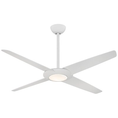 62 Pancake LED 4 Blade Ceiling Fan with Remote Finish: Flat White