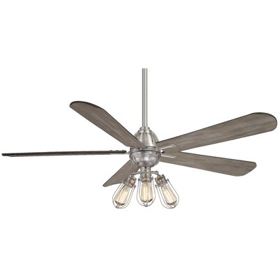 56 Alva 4 Blade Ceiling Fan with Remote Finish: Brushed Nickel