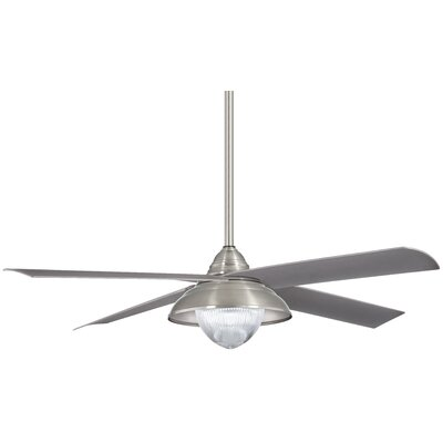 56 Shade 4 Blade Outdoor LED Ceiling Fan Finish: Brushed Nickel Wet with Silver Blades