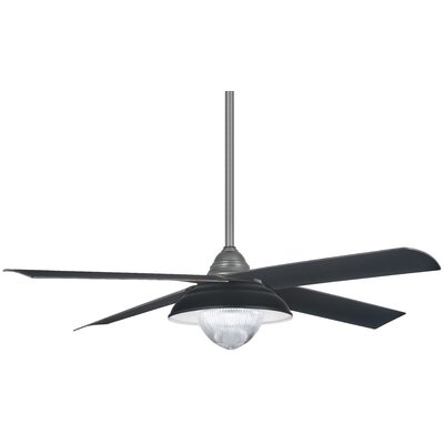 56 Shade 4 Blade Outdoor LED Ceiling Fan Finish: Gray Iron with Matte Black Blades