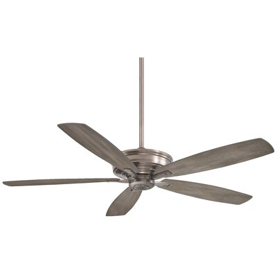 60 Kafe 5-Blade Ceiling Fan with Handheld Remote Finish: Brushed Nickel with Seashore Gray Blades