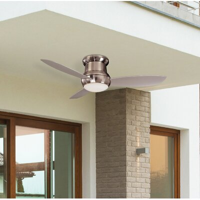 52 Concept II 3-Blade Outdoor Ceiling Fan with Wall Mount Finish: Brushed Nickel with Silver Blades