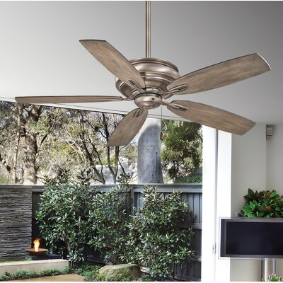 54 Timeless 5-Blade Ceiling Fan Finish: Brushed Nickel with Seashore Gray Blades