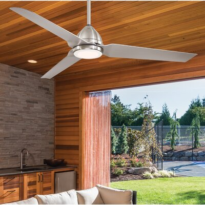 54 Java 3 Blade LED Ceiling Fan with Remote Finish: Polished Nickel with Silver Blades