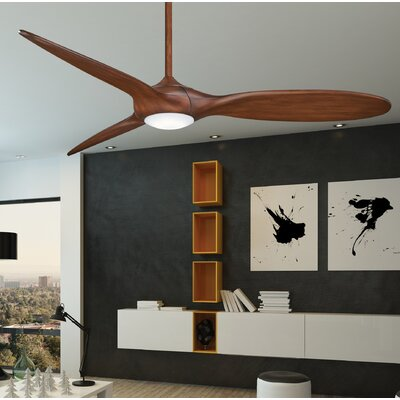 60 Force LED 3-Blade Ceiling Fan Finish: Distressed Koa